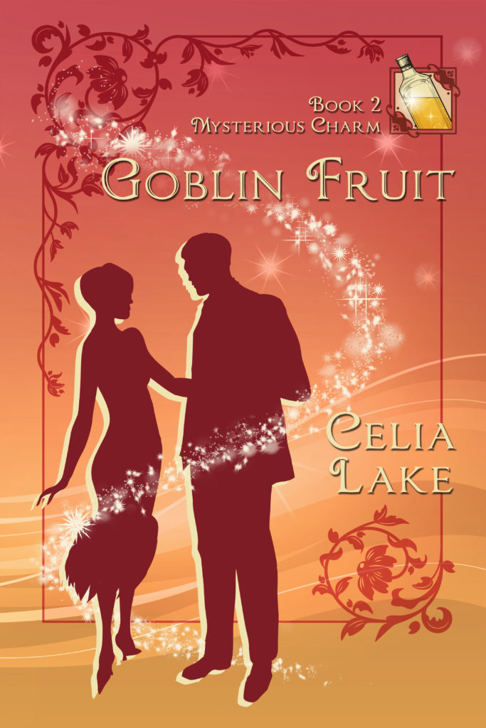 Book cover: Goblin Fruit : Two figures in 1920s clothing about to dance, on a peach-red background with stars and a glowing golden bottle of liquid.