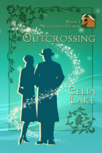 Book cover for Outcrossing: a man and a woman in 1920s silhouette stand, her hand tucked into his arm.