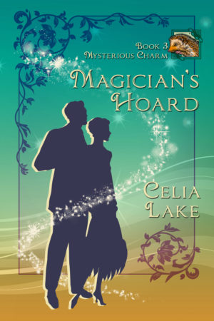 Cover image of Magician's Hoard: a man in a suit and a woman in a 1920s dress stand silhouetted on a background that shades from turquoise blue to warm sandy brown. A small inset image has a brown and cream hedgehog illustration.