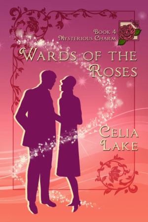 Wards of the Roses: a silhouetted man and woman on a cover shading from red to pink with a rose in the corner.