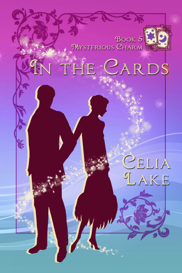 Cover of the book: Two figures silhouetted against a purple backdrop, one turning away from the other. Stars frame their heads nad shoulders, and three small divination cards can be seen inset in the top right corner.