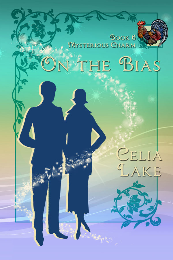 Book cover for On the Bias: Two silhouetted figures on a green and purple backgroud with a rooster inset in the top right.