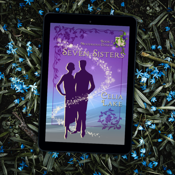 An ereader with the cover of Seven Sisters displayed on it rests on a bed of green leaves and pale blue flowers. The cover has a silhouetted couple in 1920s dress and suit on a purple and blue background, surrounded by vines.