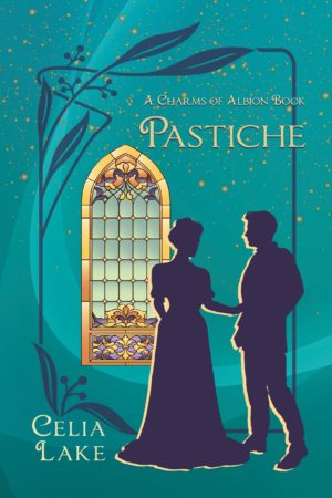 Cover of Pastiche: silhouetted man and woman in Edwardian dress in front of a stained glass window on a deep teal background.
