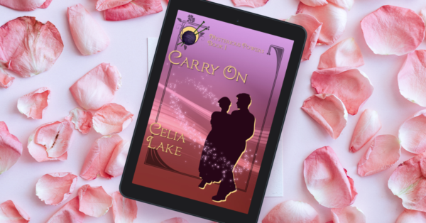 eReader with the cover of Carry On displayed, surrounded by pale pink rose petals. The cover has a nurse and a man walking arm in arm in silhouette, on a background of lavender and pale pink, circled by faint magical stars. A ball of yarn and knitting needles is inset in the corner.