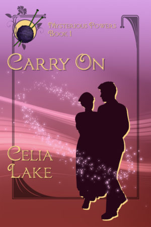 Cover of Carry On by Celia Lake: a nurse and soldier in silhouette at the right on a background of lavender and rose pink, circled by stars. A ball of purple yarn with needles inset in the upper left corner.