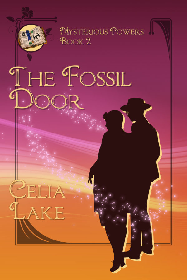 Cover of The Fossil Door: A man and woman in silhouette at the right looking to the left, at something on the ground. He is wearing a hat. The background is deep burgundy and golden yellow, with a small illuminated manuscript inset in the top left corner. Star and sparkles swirl around the figures.