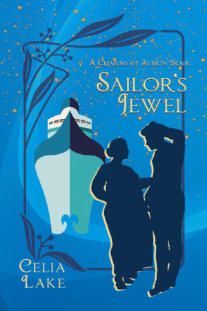 Cover of Sailor's Jewel: a blue background with an ocean liner facing the viewer at the back left, with a man and woman silhouetted at the bottom right. She is talking, wearing a a loose long dress, while he leans against the frame around the cover.